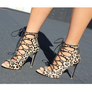 ZARA LEOPARD PRINT ANKLE BOOT LACE-UP HEELS US 8